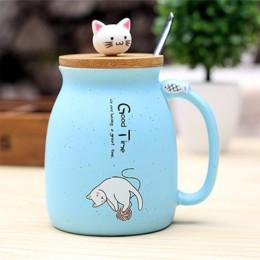 Kolor Cartoon kawa z mlekiem kubek ceramiczny z łyżeczka w pokrywce kubek słodki kociak wytrzymały kubek kotek dzieci kubek arty