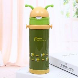 350ml wysokiej jakości dzieci termosy z silikonu słomy ze stali nierdzewnej dzieci kubek termiczny butelka termiczna Thermocup B