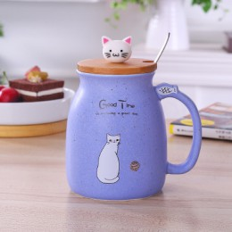 450ml nowy kubek z sezamem odporny na ciepło kubek kolor Cartoon z pokrywką kubek kotek mleko kubek ceramiczny kubek kawy dla dz