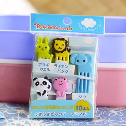 10 sztuk/paczka zwierząt Farm widelec do owoców Mini Cartoon dzieci przekąska deser ciasto Pick wykałaczka Bento Lunches Party D