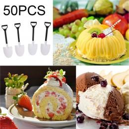 50 sztuk plastikowe jednorazowe mini łopata łyżka doniczkowa maszynka do lodów i ciast łyżka dla dzieci deser łyżeczka do herbat