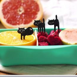 Nowe zwierzę 6 sztuk/zestaw czarny kot widelec do owoców kotek na Lunch Garfo kreskówki dla dzieci jedzenie Mini opcji