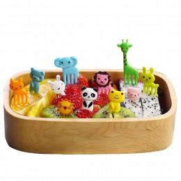 Obiad dla dzieci dekoracyjny kolor losowo 10 sztuk/zestaw Animal Farm Mini owoce w stylu kreskówki widelec znak owoc z żywicy wy
