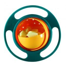 Magiczne miski 360 stopni obrót odporna na zalanie Gyro miska z pokrywką dla maluch dziecko dzieci dzieci