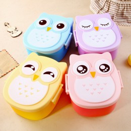 Cartoon śliczne dzieci Lunch Box sowa Bento Box podzielone z tworzywa sztucznego dla dzieci Student kuchenka mikrofalowa lunchu