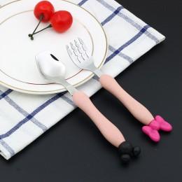 Myszka mickey ze stali nierdzewnej Minnie widelec dla dzieci zastawa stołowa dziecko dziecko pszenica słoma uchwyt sztućce dla d