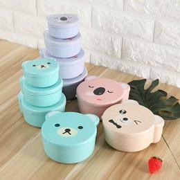 4 sztuk/zestaw Mini Cartoon śliczne dziecko dziecko Bento Box z tworzywa sztucznego słomy pszenicy pojemnik na lunch do mikrofal