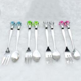 2 szt. Zestaw obiadowy dla dzieci sztućce dla dzieci diamentowe kształty sztućce Scoop Fork jedzenie zestaw do jadalni ze stali