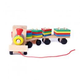 Zabawki montessori drewniane zabawki edukacyjne dla dzieci wczesne nauczanie figury geometryczne zestawy pociągów trzy gry ciągn