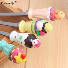 4 sztuk/zestaw zestawy obiadowe kawy łyżeczka w kształcie lodów ładny styl zestaw na ślub dzieci prezent Dropshipping
