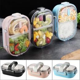 Przenośne pudełko na lunch pudełko na lunch ze stali nierdzewnej pojemnik pojemnik bento z paskiem pojemnik na jedzenie dla dzie