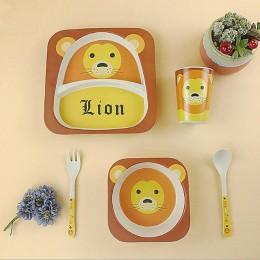 ONEUP bambusowy zestaw obiadowy Cartoon Animal Pattern zestaw stołowy ekologiczny zdrowie i bezpieczeństwo dzieci dzieci akcesor