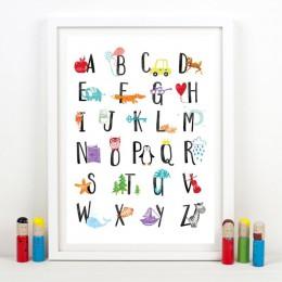 Alfabet plakat na płótnie przedszkole ściana drukowany obraz, zabawny alfabet ABC ze zwierzętami obraz dzieci sypialnia dekoracj