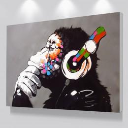 Dropshipping tanie Home Decor, nowoczesne malowanie małp DJ, obrazy na ścianę, niestandardowe płótno plakaty na wystrój pokoju d