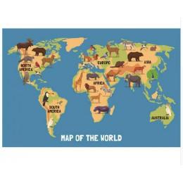 FGHGF Nordic dzieci Kawaii zwierzęta kreskówkowe mapa świata, druk na płótnie obraz plakat zdjęcia ścienny dla dzieci Home Decor