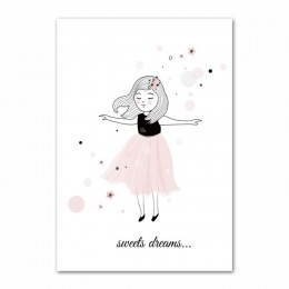Różowa dziewczynka wystrój pokoju plakat skandynawski obrazki z motywem kreskówkowym dla dzieci pokój plakaty i druki obraz ście