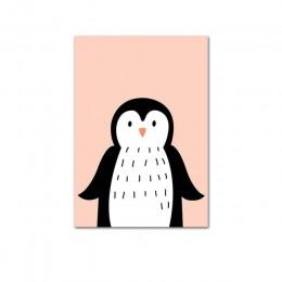 Cute Cartoon dziecko pingwina zwierząt małpa przedszkole plakat na płótnie obraz ścienny Nordic dzieci dekoracji pokoju dziecka