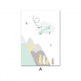 Przygoda cytaty przedszkole dziecko plakat Cartoon górski druk obraz ścienny na płótnie Nordic dziecko dekoracja do sypialni dla
