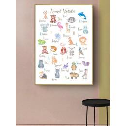 Zwierząt alfabet przedszkole dziecko plakat na ścianę sztuka druk na płótnie oświecenie malarstwo Nordic Kid dekoracja do sypial