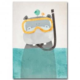 Sztuka nordycka niedźwiedź polarny Hippo plakat na płótnie minimalistyczny obraz kreskówka nowoczesny obraz do przedszkola dekor
