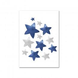 Lew księżyc gwiazdy obraz zwierząt przedszkole plakat w niebieski czarny dziecko Wall Art blejtram malarstwo Nordic dla dzieci c