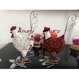 H19cm śliczny biały/czerwony kolor dwustronny metalowy kurczak, okno, oranment na biurko dla dzieci, noworoczny prezent, wystrój