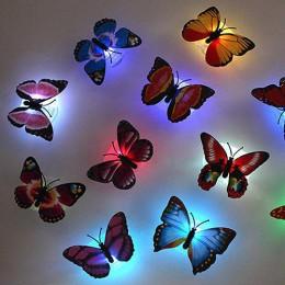 LED Butterfly lampka nocna z zmienia kolor wesele biurko dekoracje ścienne z przyssawką prezenty dla dzieci 1pc 7 kolorów