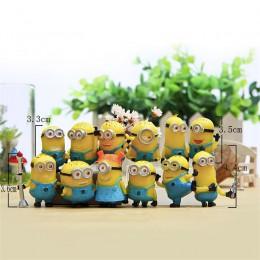 12 sztuk/zestaw Minion miniatury figurki zabawki małe miniatury 3D małe miniony Home Decor dekoracje Anime dzieci rysunek zabawk
