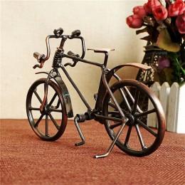 Antyczny rower Model metalowa dekoracja wnętrz (rękodzieło) VIntage rower miniaturowe figurki urodziny dzieci zabawki prezenty k
