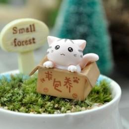 Śliczne Mini Cat ozdoba ogród kotek bombka na prezent dla dzieci dzieci dekoracja do pokoju dziecięcego zabawki miniaturowe figu