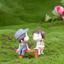 Chłopiec dziewczyna Home Decor miłośnicy Sweety para krzesło figurki miniaturowe terraria wróżka mech ogrodowy zabawka dla dziec