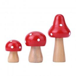3 sztuk/zestaw Mini drewno grzyby ozdoby DIY rzemiosło dekoracja stołu drewniane miniatury ozdoba dekoracyjna do domu dla dzieci
