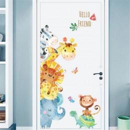 Pokój dziecięcy przedszkole pokój dekoracja drzwi naklejki kreskówka ręka malowane naklejki ze zwierzętami pokój dziecięcy nakle