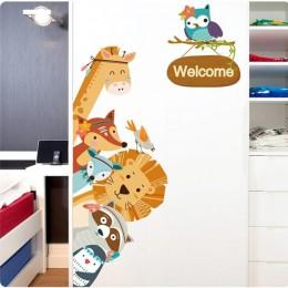 Cartoon zwierząt naklejki na drzwi przedszkole pcv naklejki ścienne dla dzieci drzwi do sypialni dekoracji sztuki naklejki 60*90