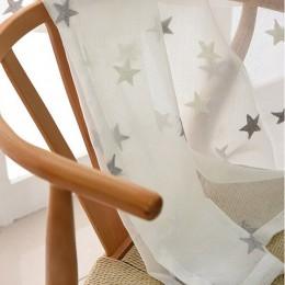 Dzieci ozdobna zasłona haftowane gwiazdy biała pościel tiul zasłony do salonu szary Sheer zasłony do sypialni X-WP159 * 30