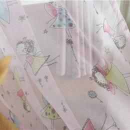 Fioletowy kurtyna do salonu dzieci sypialnia Cartoon dziewczyny drukowane zasłona typu woal dzieci zasłony tkaniny tiul Cortinas