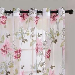 Kwiatowy dom tkaniny zasłony tiulowe do salonu dzieci drzwi do sypialni i kuchni zasłony na okno czarny Cortinas D