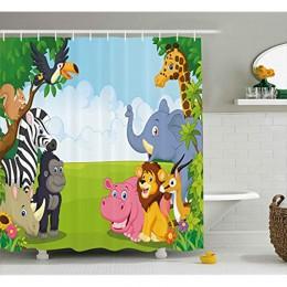 Vixm dekoracje dla dzieci zasłona prysznicowa dekoracje dla dzieci dzieci pokoju dziecięcego Safari tematyczne zwierzęta kresków