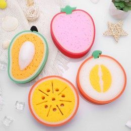 4 sztuk śliczne w kształcie owoców gąbka do kąpieli dla czyszczenie ciała piękne dziecko ciała gąbki płuczki gąbka prysznicowa d