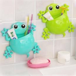 Żaby Cute Cartoon Home łazienkowy uchwyt na szczoteczkę do zębów ścienny montaż na przyssawkę stojak do przechowywania pasty do
