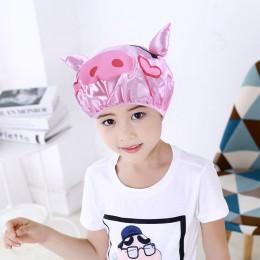 Dwuwarstwowa dziecięca kreskówka wodoodporny prysznic czapka Cute Animal Baby czepek kąpielowy ochrona dzieci szampon kąpielowy
