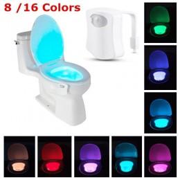 8 kolorów światło led do toalety czujnik ruchu PIR lampka nocna podświetlenie aktywowane WC muszla klozetowa siedzisko inteligen