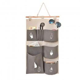 Cotton Linen dekoracyjny Organizer do domu ściana drzwi sakiewka wisząca torba do szafy Case Bag pokrowiec na organizery dla dzi