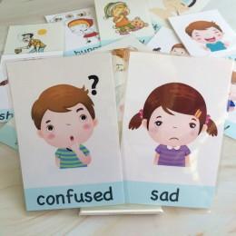 14 sztuk zarządzanie emocjonalne dzieci Montessori English Word Pocket fiszki gra nauka zabawek edukacyjnych dla dzieci