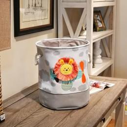 1PC śliczne nowy lew żyrafa Cartoon płótno przechowywania kosz na zabawki dziecko składany kosz na pranie brudne ubrania organiz