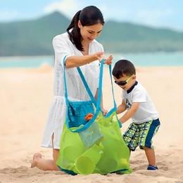 Dzieci przenośna anty piaszczysta plaża siatka kąpielowa torba do przechowywania zabawek Tote Kid duża składana torba z siateczk