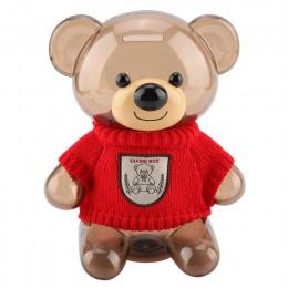 Dzieci monety skarbonka Money Box przechowywania banku dzieci bezpieczne ubrania z nadrukami niedźwiedź plastikowe przezroczyste