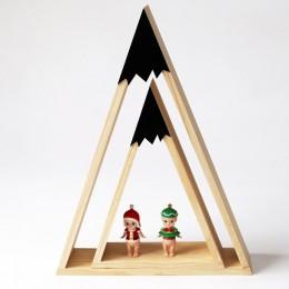 2 sztuk/zestaw drewniany stojak ze wzorem ośnieżonych gór kreatywny trójkąt superpozycja półka do wieszania na ścianie dekoracja