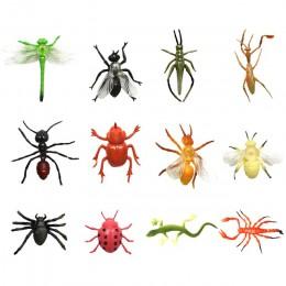 2 rodzaje 12/24 sztuk z tworzywa sztucznego symulacja Bee Dragonfly pająk zabawki owad biedronka szarańczy lizard modele figurki