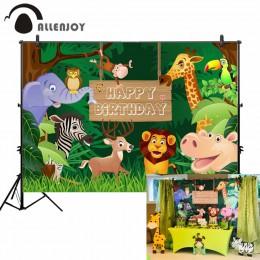 Fotografia allenjoy dżungla urodziny strona las tło dzikie zwierzęta impreza w stylu safari drewno tło niestandardowe dzieci pho